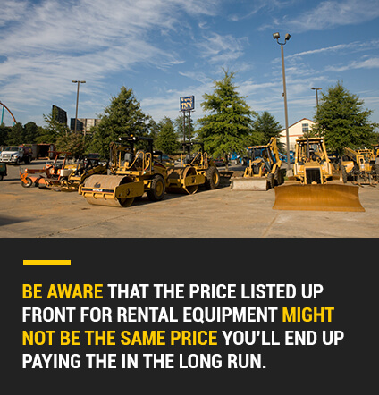 rental equipment prices