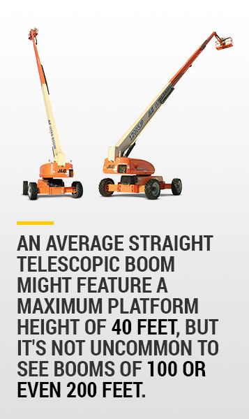 telescopic boom sizes